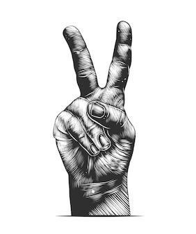Boceto dibujado mano de mano de victoria en monocromo