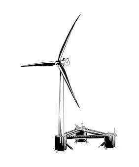 Boceto dibujado a mano del molino de viento en negro