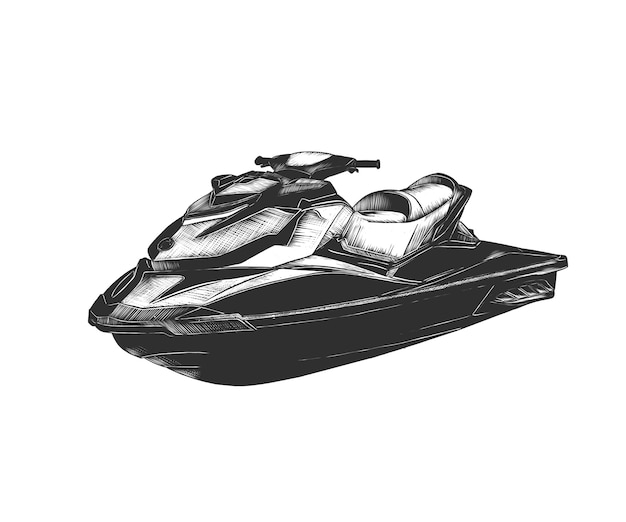 Boceto dibujado a mano de moto acuática en monocromo