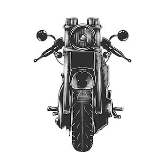 Boceto dibujado mano de motocicleta en monocromo