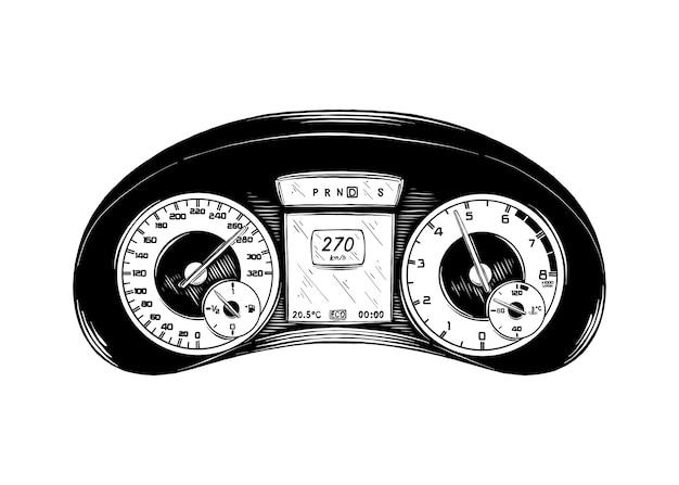 Boceto dibujado a mano del panel del automóvil en negro