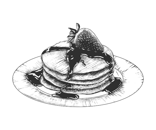 Boceto dibujado a mano de panqueques en el plato