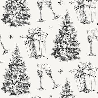 Boceto dibujado a mano patrón de navidad regalo de año nuevo