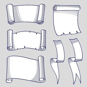 Boceto dibujado a mano de pergaminos y cintas