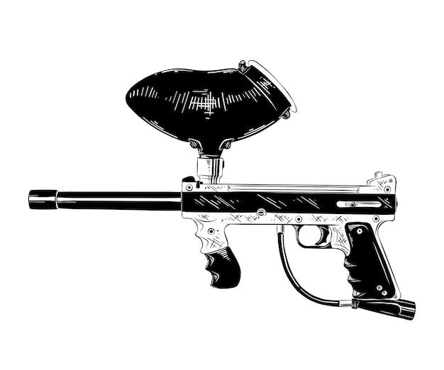 Boceto dibujado a mano de la pistola de paintball en negro