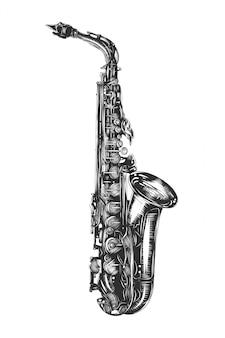 Boceto dibujado a mano del saxofón en monocromo