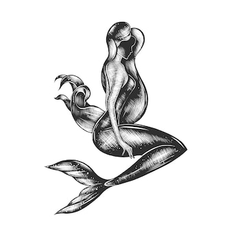 Boceto dibujado a mano de sirena en monocromo