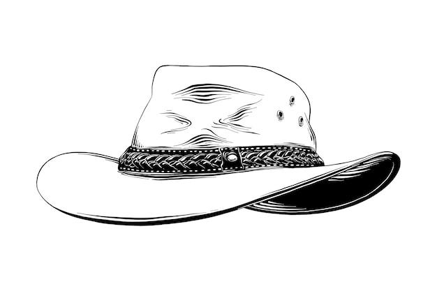 Boceto dibujado a mano del sombrero de vaquero occidental