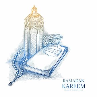 Boceto dibujado a mano tarjeta de felicitación de ramadan kareem