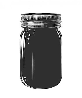 Boceto dibujado mano de tarro de cristal