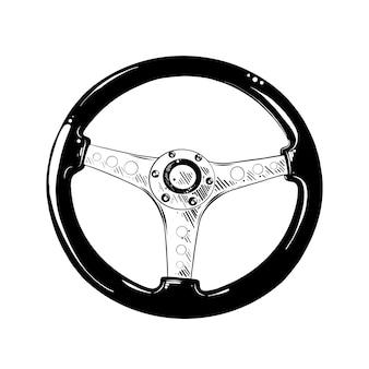 Boceto dibujado a mano de timón automático en negro