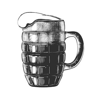 Boceto dibujado a mano de vaso de cerveza en monocromo