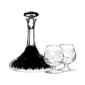 Boceto dibujado a mano de vino judío en negro