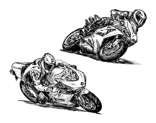 Boceto de dibujo de mano de colección de carreras de motos