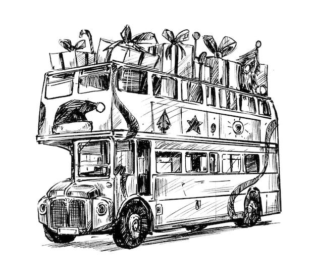 Boceto del dibujo a mano de navidad del autobús escolar