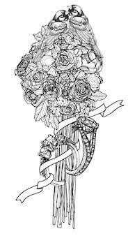 Boceto de dibujo a mano de tarjeta de boda