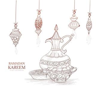 Boceto de dibujo de mano de tarjeta de felicitación de ramadan kareem
