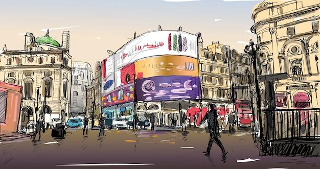 Boceto de dibujo de paisaje urbano en londres, inglaterra, mostrar calle peatonal en la esquina, tablero de luces led, ilustración