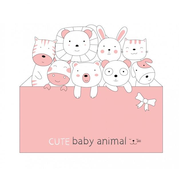 Boceto de dibujos animados del animalito lindo bebé con un sobre rosa. estilo dibujado a mano.