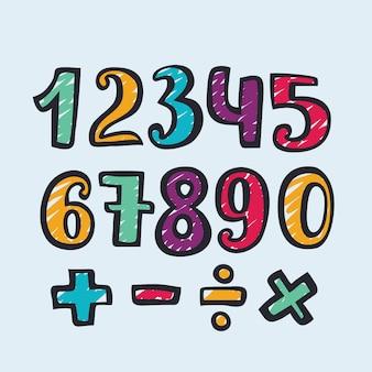 Boceto de doodle dibujado a mano de números de alfabeto. ilustración de números dibujados a mano