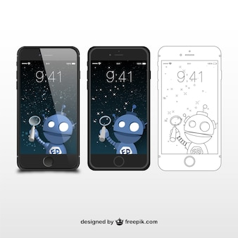 Boceto e ilustraciones de iphones