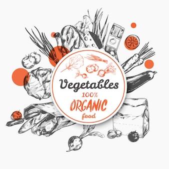 Boceto etiqueta alimentos orgánicos