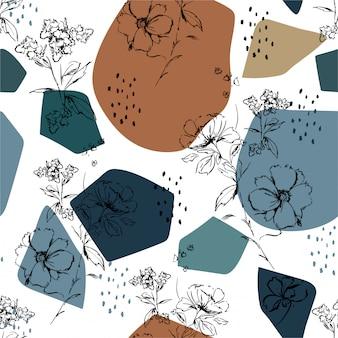 Boceto de flores a mano y patrón botánico.