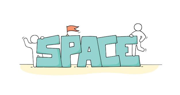 Boceto de gente pequeña con la palabra espacio doodle linda escena en miniatura sobre el cosmos