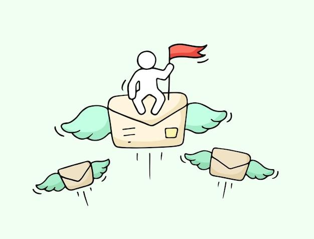 Boceto de gente pequeña trabajadora con letra voladora. doodle linda escena en miniatura sobre publicación.