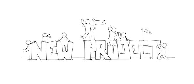 Boceto de gente trabajadora con grandes palabras nuevo proyecto. doodle linda escena en miniatura de trabajadores.