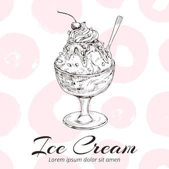 Boceto de helado en tazón de vidrio ilustración
