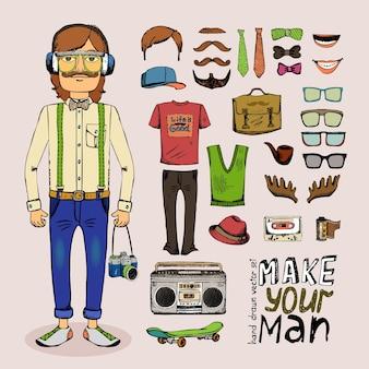 Boceto hipster masculino con cinta de gafas de sombrero de tubo y maletín en estilo retro