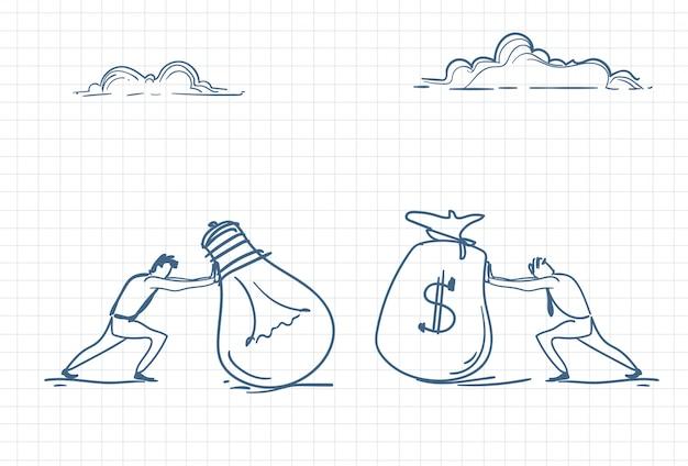 Boceto de un hombre empujando una bolsa de dinero para nuevas ideas