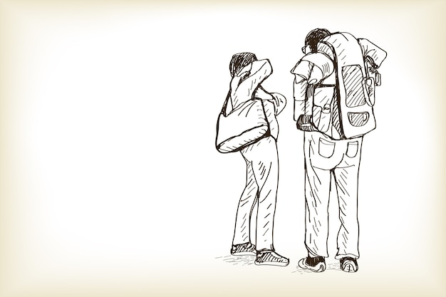 Boceto de hombre y mujer viajando y esperando el tren, dibujo a mano alzada