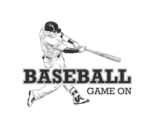 Boceto del jugador de béisbol con tipografía.