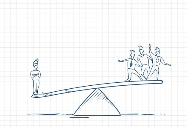 Boceto de un líder de equipo con empleados