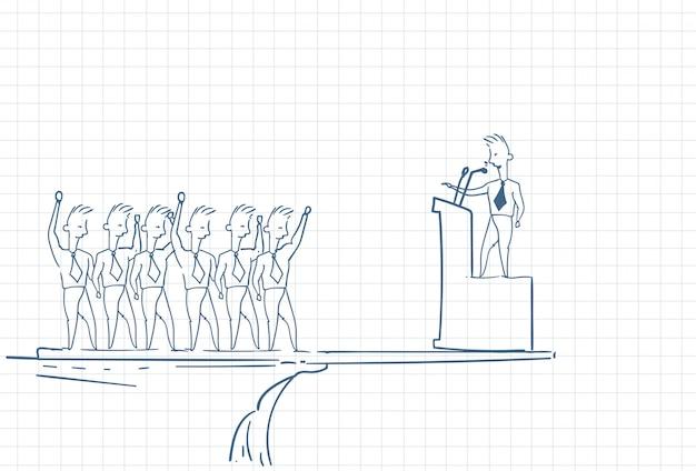 Boceto de un líder de equipo que sostiene a los empleados