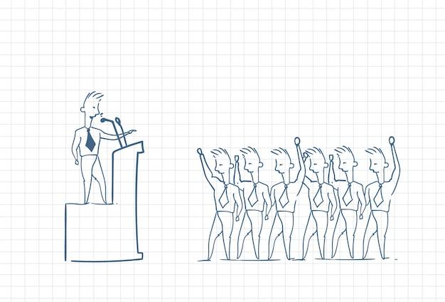 Boceto de un líder de equipo que tiene un discurso