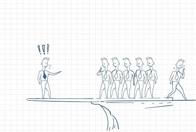 Boceto de un líder de equipo sostenido por empleados