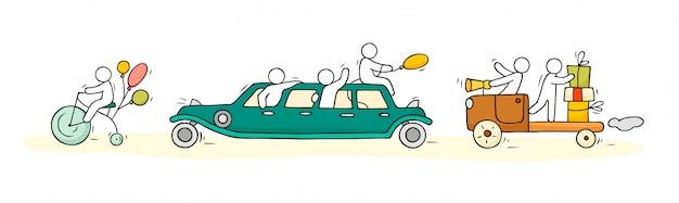 Boceto con lindos autos y personas