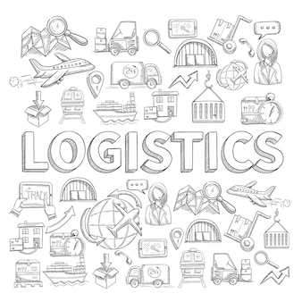 Boceto logístico concepto