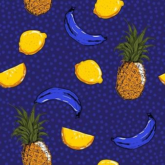 Boceto de la mano de moda y fresca frutas de verano limón