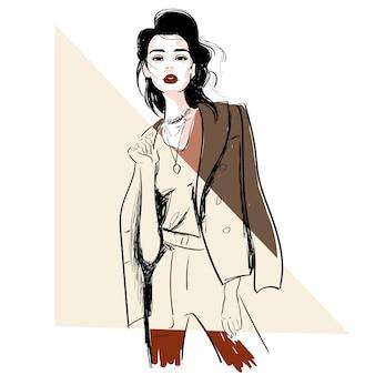 Boceto de moda de modelo en chaqueta.