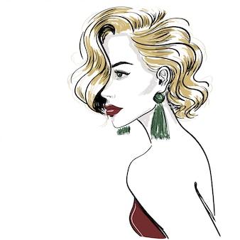 Boceto de mujer rubia clásica con ondas de pelo.