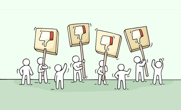 Boceto de multitud de personas con símbolos de disgusto