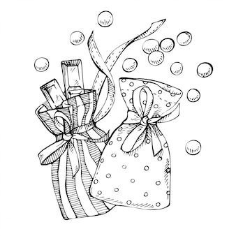 Boceto de navidad calendario de adviento bolsa con dulces y barra de chocolate en el interior.