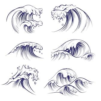 Boceto de onda. salpicaduras de mar océano olas. colección de doodle de agua de viento de tormenta de surf dibujado a mano