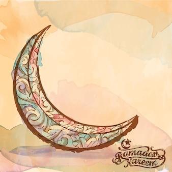 Boceto de ornamento de acuarela de media luna islámica para ramadán kareem