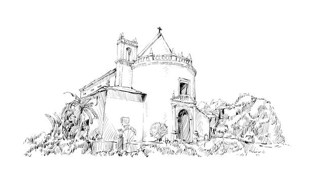 Boceto de paisaje mostrar india iglesia católica edificio antiguo, ilustración