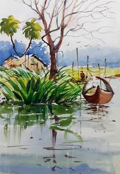 Boceto de paisaje de naturaleza acuarela en mano